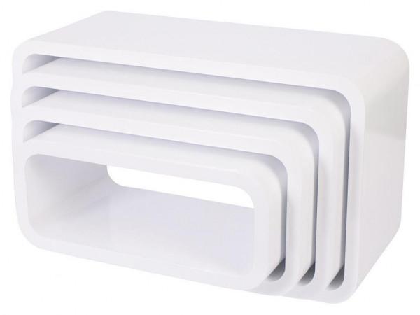 Sebra Cube Regale, 4er Set, oval weiß matt