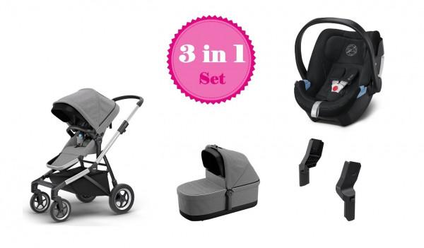 Thule Sleek Kinderwagen Set 3 in 1 mit Cybex Aton 5 Babyschale