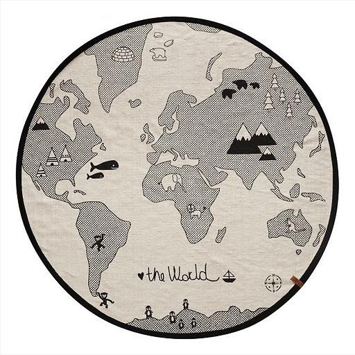 OYOY Kinderteppich World, rund 135 cm