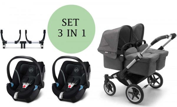 Bugaboo Donkey3 Zwillingskinderwagen 3 in Set inkl. Cybex Aton 5 Babyschale und Adapter