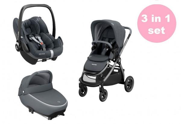 Maxi Cosi Adorra Kinderwagen Premium Set 3 in 1 (Jade Babywanne & Pebble Pro Babyschale)