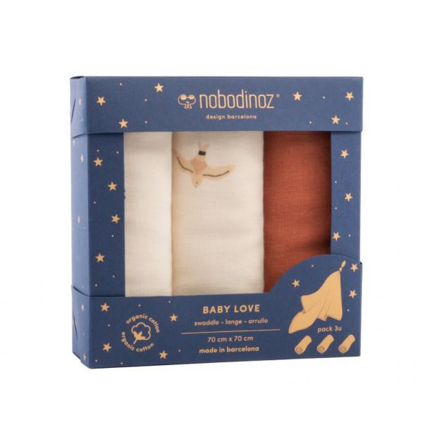 Nobodinoz Mulltücher 70x70 cm, 3er-Pack